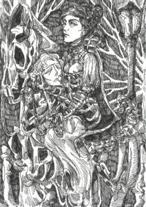 Inktober 2016: Headless Man and Horsewoman